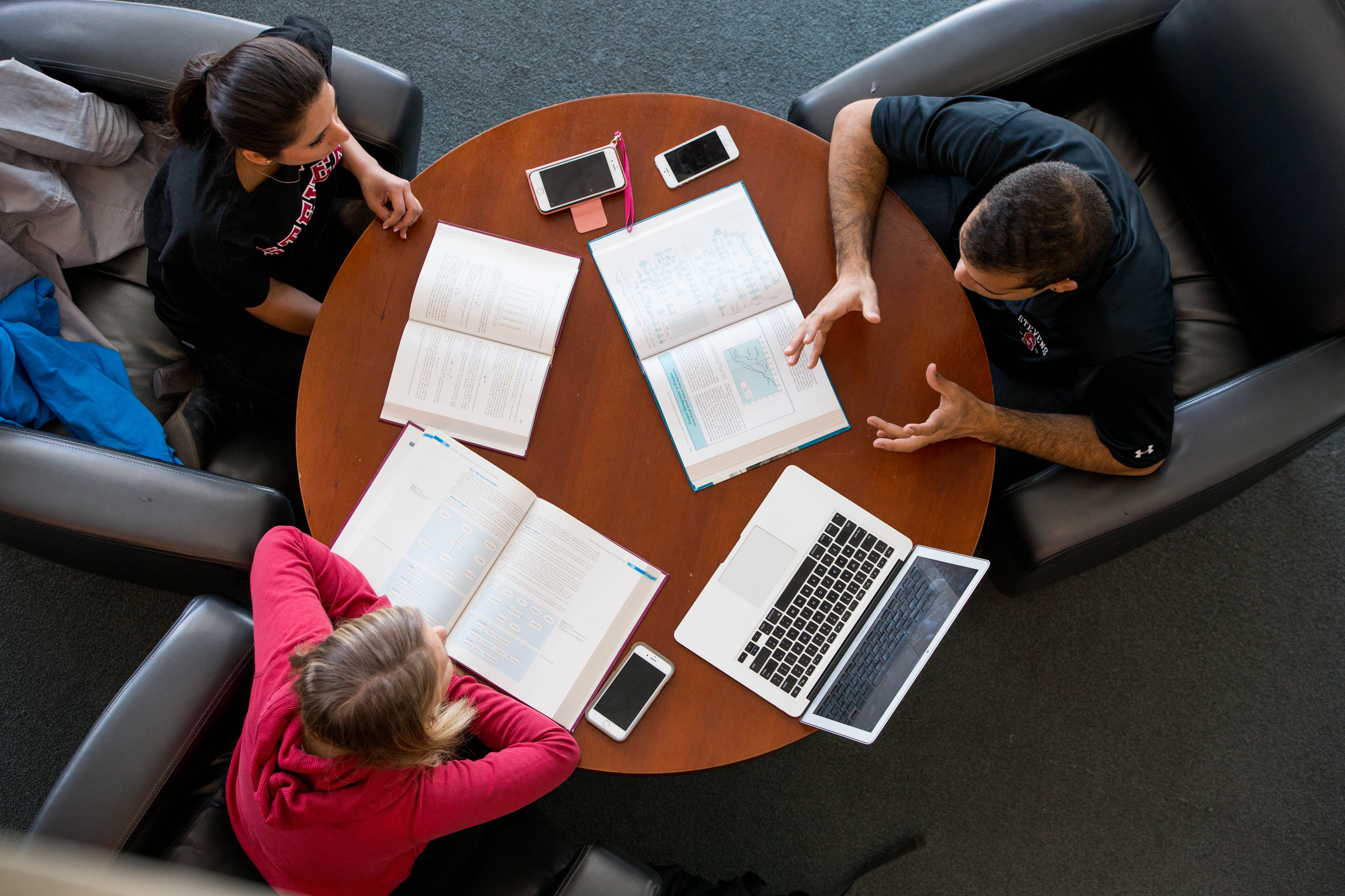 Students study at round table